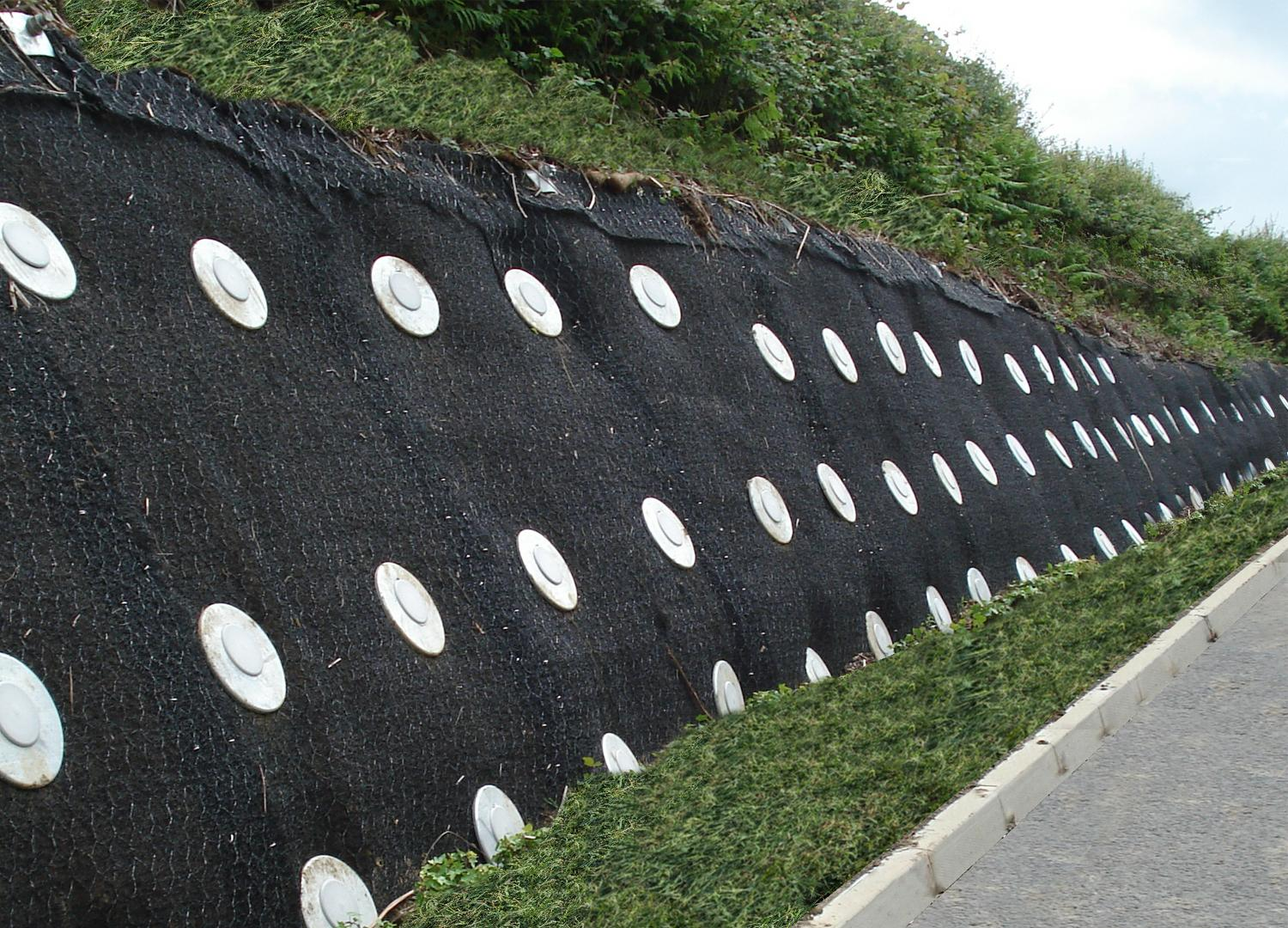 Geotextile matting with recessed pattress plate